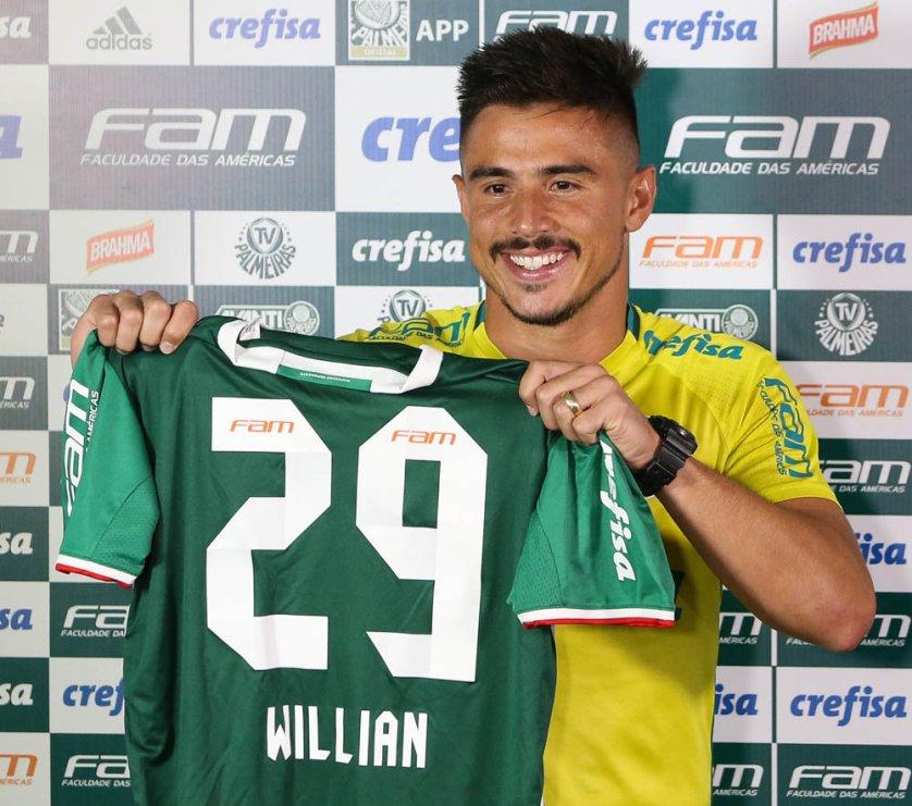 O atacante Willian vestirá a camisa 29. (Cesar Greco/Ag Palmeiras/Divulgação)