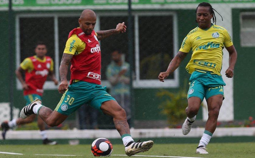 Arouca e Felipe Melo, recuperados, foram as novidades do treino. (Cesar Greco/Ag.Palmeiras/Divulgação)