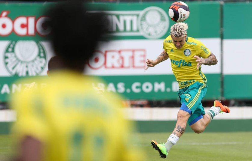 Eduardo Baptista comandou um treino coletivo na tarde desta quarta-feira (01). (Cesar Greco/Ag.Palmeiras/Divulgação)