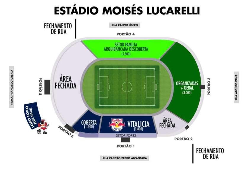 Contra o Red Bull, torcida palestrina ficará na Arquibancada Visitante (portões 3 e 4). (Reprodução/Red Bull Brasil)