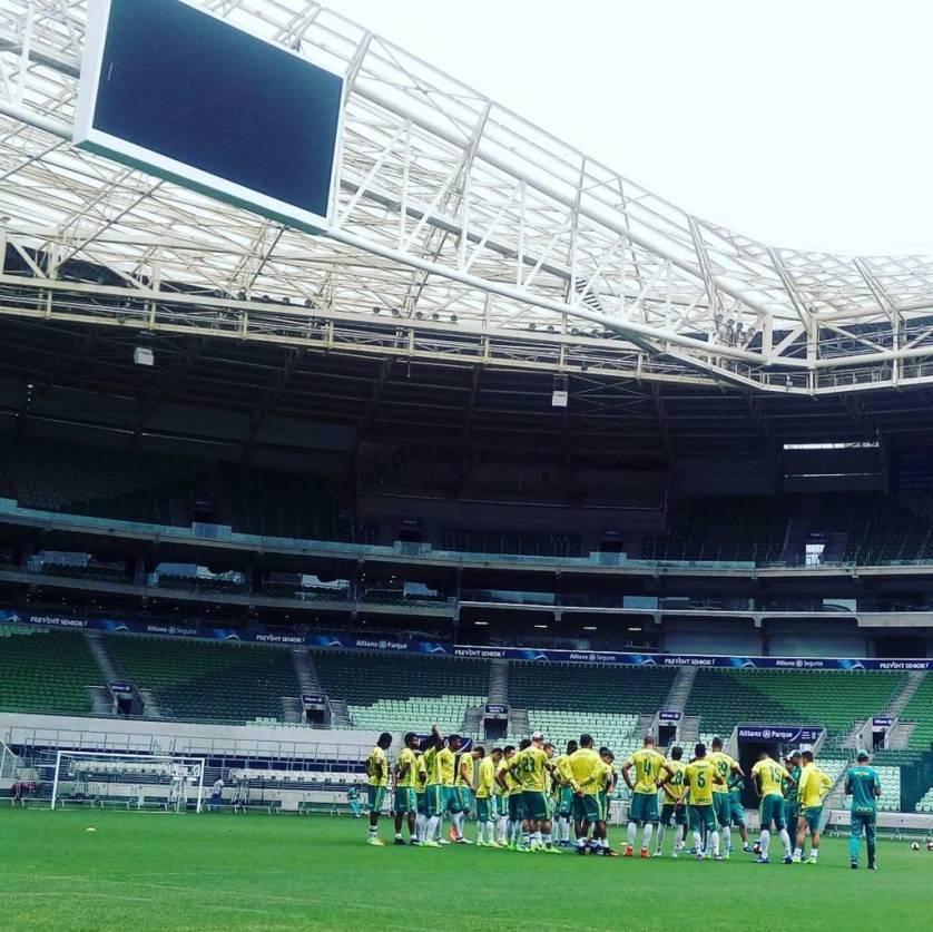 Elenco palestrino treino no Allianz Parque para primeiro jogo oficial do ano. (Cesar Greco/Ag.Palmeiras/Divulgação)