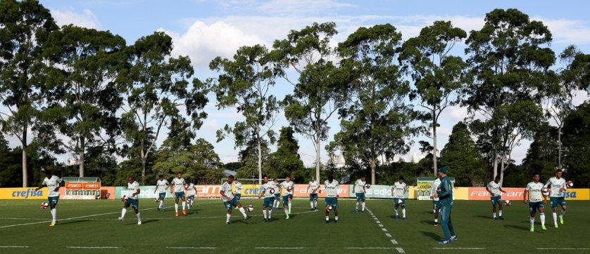 Os reservas fizeram atividades técnicas no gramado. (Cesar Greco/Ag. Palmeiras/Divulgação)