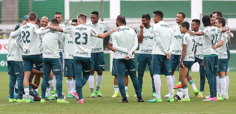 Elenco deu sequência à preparação para enfrentar Ponte Preta. (Cesar Greco/Ag Palmeiras/Divulgação)
