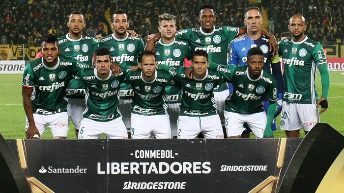 Palmeiras venceu, de virada, o Peñarol-URU, por 3 a 2, em Montevidéu, no Uruguai, na noite desta quarta-feira (26). (Cesar Greco/Ag Palmeiras/Divulgação)