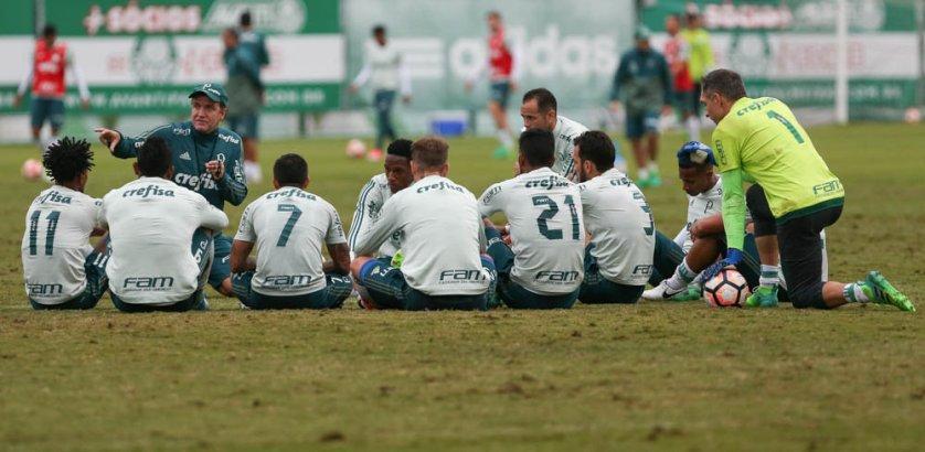 Verdão encerrou preparação para enfrentar o Atlético Tucumán com treino tático. (Cesar Greco/Ag Palmeiras/Divulgação)