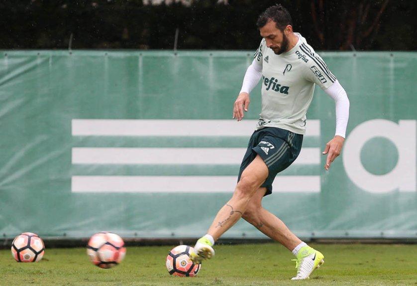 Edu Dracena trabalhou normalmente nesta segunda (08). (Cesar Greco/Ag Palmeiras/Divulgação)