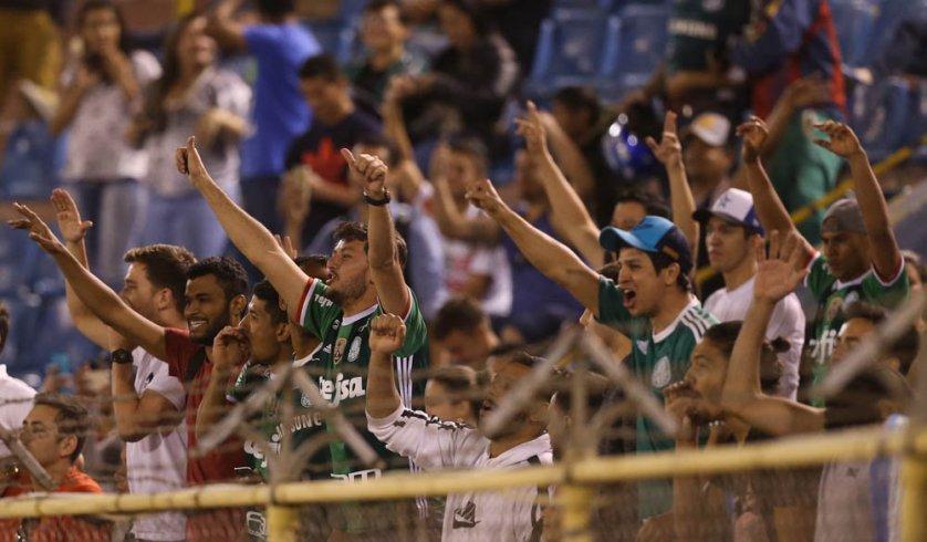 A torcida palmeirense marcou presença no Estádio Félix Capriles. (Cesar Greco/Ag. Palmeiras/Divulgação)
