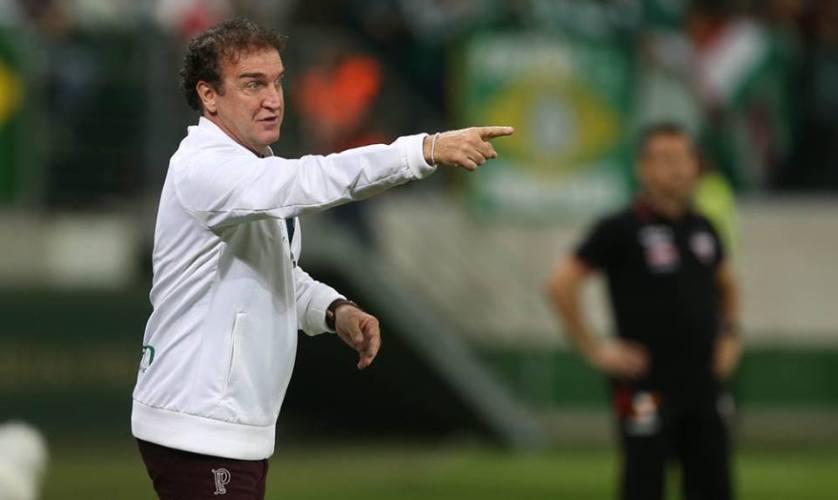 Cuca elogiou o progresso da equipe contra o Atlético-GO. (Cesar Greco/Ag. Palmeiras/Divulgação)