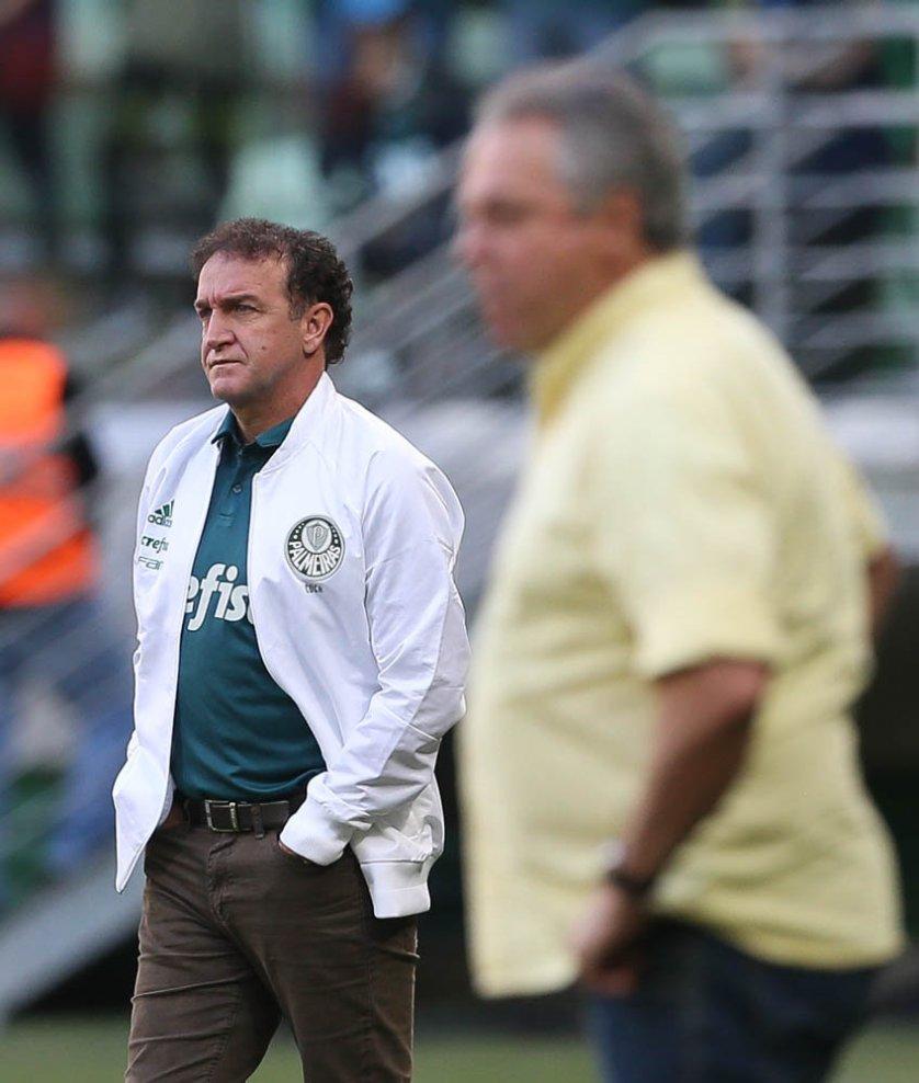 Cuca elogiou o rendimento de seus comandados após 3 a 1 contra Fluminense. (Cesar Greco/Ag Palmeiras/Divulgação)