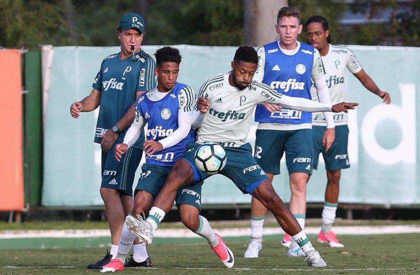 Cuca comandou um treino técnico para os jogadores que jogaram menos de 45 minutos, diante do Santos. (Cesar Greco/Ag Palmeiras/Divulgação)