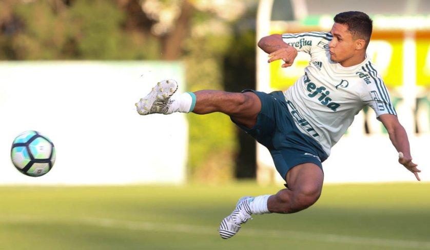 Erik marcou os três gols alviverdes e foi um dos destaques da atividade. (Cesar Greco/Ag. Palmeiras/Divulgação)