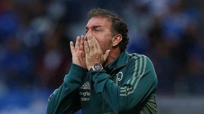 Após o revés contra o Cruzeiro, o técnico Cuca falou com os jornalistas. (Cesar Greco/Ag Palmeiras/Divulgação)