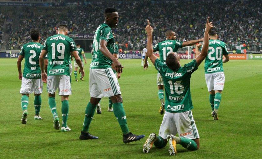 A partida marcou o primeiro gol de Deyverson, que realizou contra o Avaí o seu segundo jogo oficial pelo clube. (Cesar Greco/Ag. Palmeiras/Divulgação)