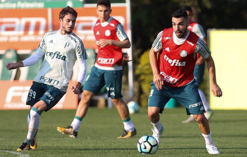De volta a São Paulo, elenco palmeirense treinou na Academia de Futebol. (Cesar Greco/Ag Palmeiras/Divulgação)