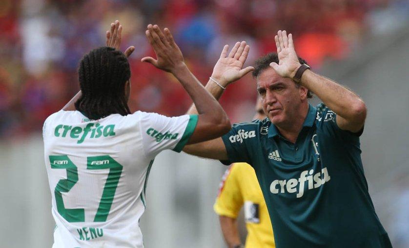 Cuca elogiou a atuação do Palmeiras na vitória sobre o Sport. (Cesar Greco/Ag Palmeiras/Divulgação)