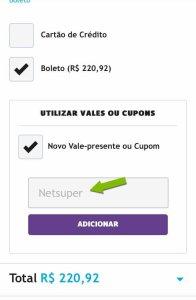 Ao clicar em adicionar, o valor da compra será atualizado automaticamente. (Reprodução/Netshoes)