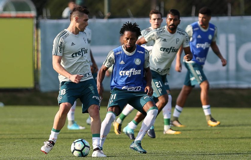 Como nos últimos dias, Moisés participou normalmente com os demais companheiros. (Cesar Greco/Ag Palmeiras/Divulgação)