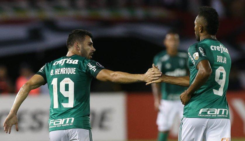 Bruno Henrique (duas vezes) e Borja marcaram os gols do Palmeiras contra o Atletico Junior, em Barranquilla. (Cesar Greco/Ag Palmeiras/Divulgação)