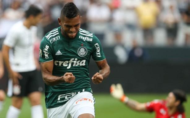 Borja marcou o gol que decretou a vitória alviverde contra o Corinthians, em Itaquera. (Cesar Greco/Ag Palmeiras/Divulgação)