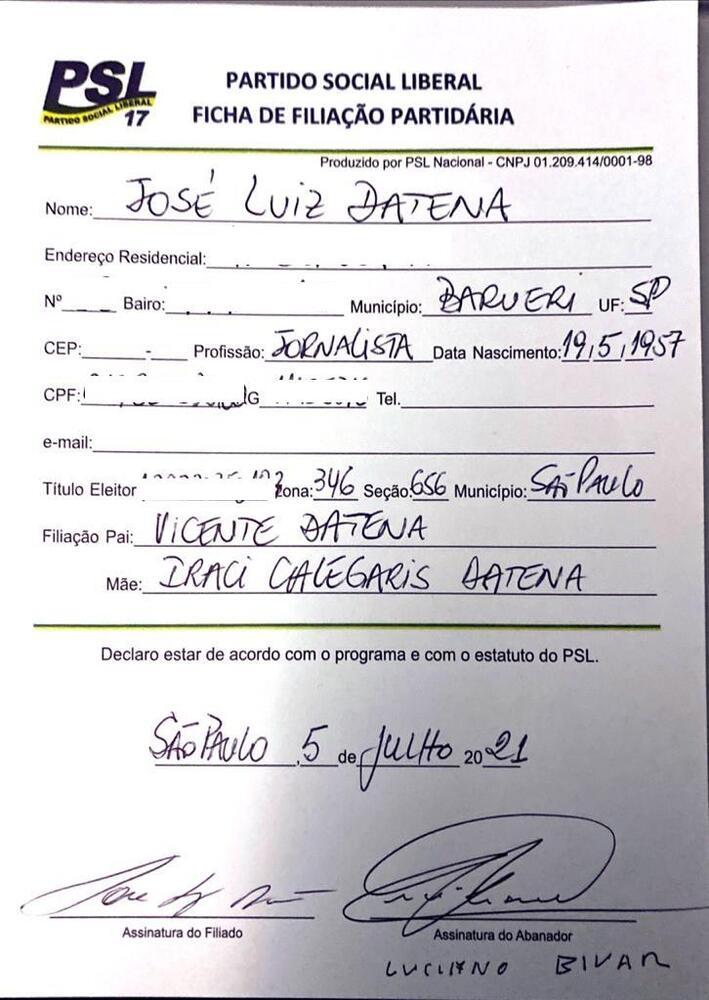 Ficha de filiação de Datena ao PSL feita nesta segunda-feira (5/7)