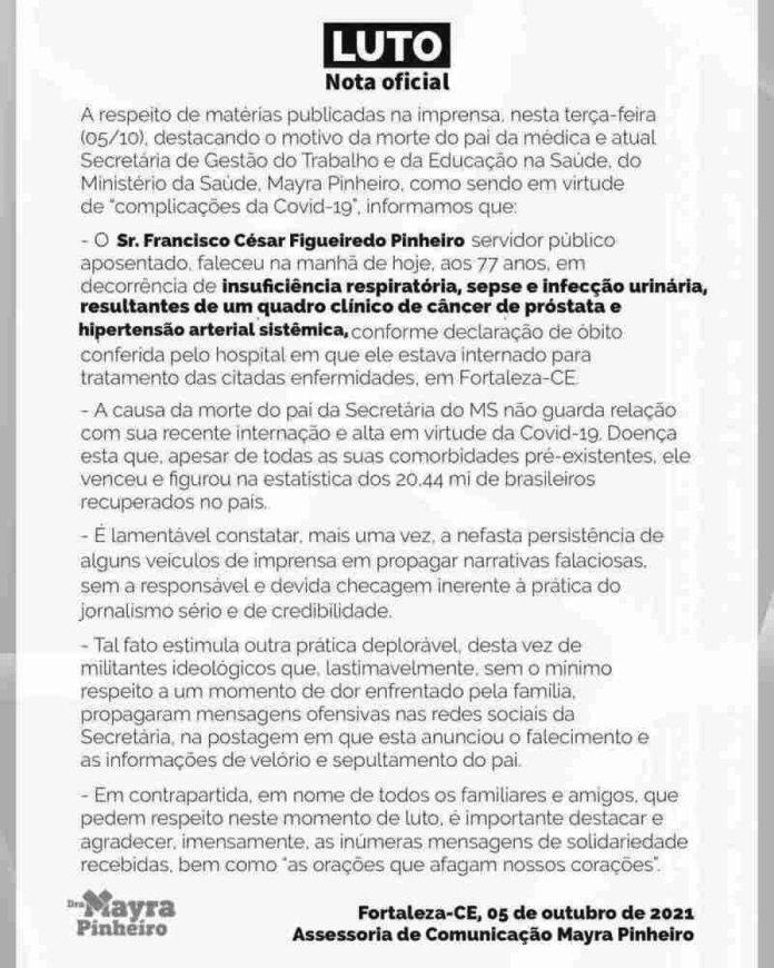 nota de pesar morte Cesar Pinheiro