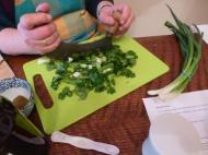 Chopping the herbs