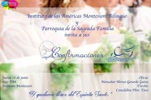MONTESSORI Y SAGRADA FAMILIA INVITAN A LAS CONFIRMACIONES