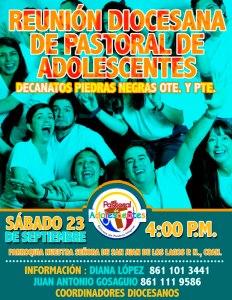 REUNIÓN DIOCESANA DE PASTORAL DE ADOLESCENTES DECANATOS PIEDRAS NEGRAS OTE. Y PTE.