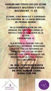 SE INVITA A LA MISA DE ACCIÓN DE GRACIAS POR EL DÍA DEL CANCER DE MAMA EN NUEVA ROSITA