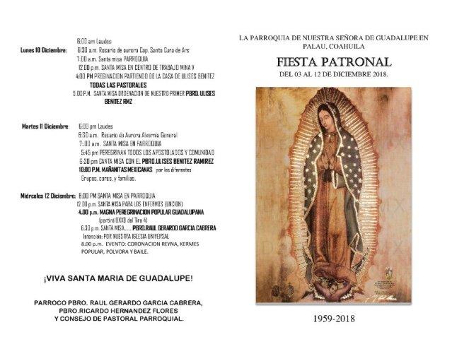 FIESTA PATRONAL DE NUESTRA SEÑORA DE GUADALUPE EN PALAÚ