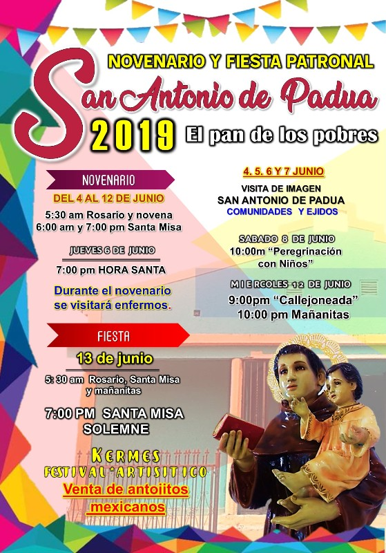 SE INVITA A LA FIESTA PATRONAL DE SAN ANTONIO DE PADUA EN PIEDRAS NEGRAS