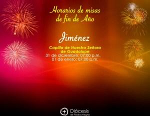 HORARIOS DE MISAS DE FIN DE AÑO EN JIMÉNEZ