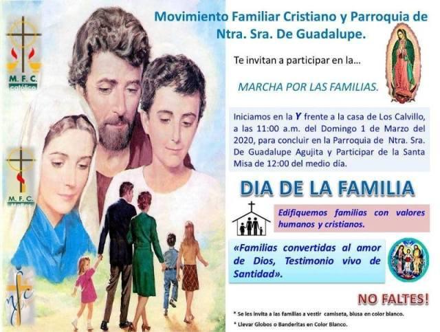 PARROQUIA GUADALUPE INVITA A LA MARCHA POR LAS FAMILIAS EN AGUJITA