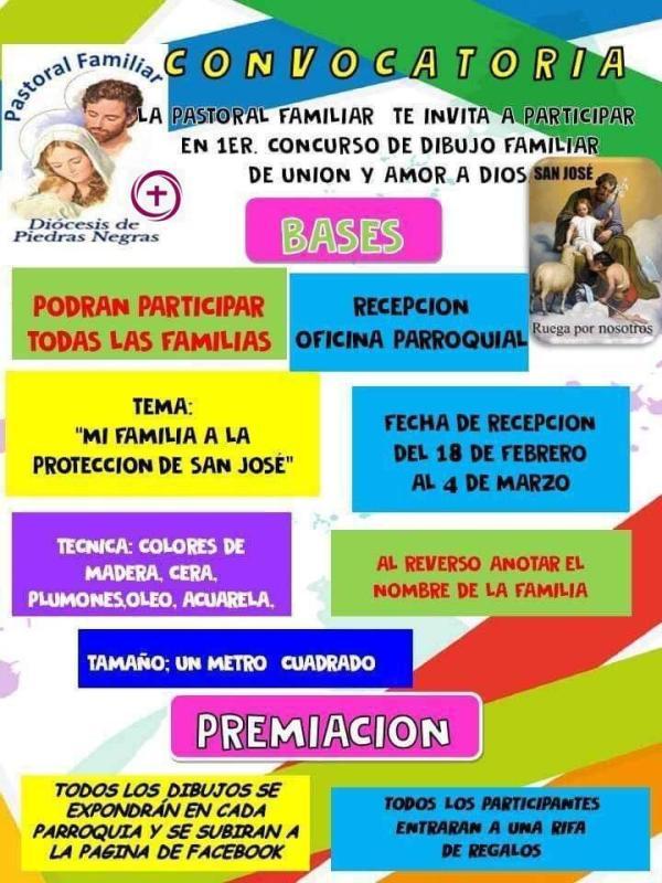 LA PASTORAL FAMILIAR TE INVITA AL 1ER CONCURSO DE DIBUJO FAMILIAR