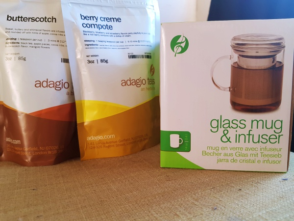 Spring Tea Bundle | Butterscotch, Berry Creme Compote tea (Limited Edition!) + Glass Mug & Infuser by Adagio Teas [closed]
