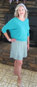 Bowie Solid Dolman Sleeve Top and Kayla Printed Flare Skirt from Stitch Fix On Mid-Life Blogger
