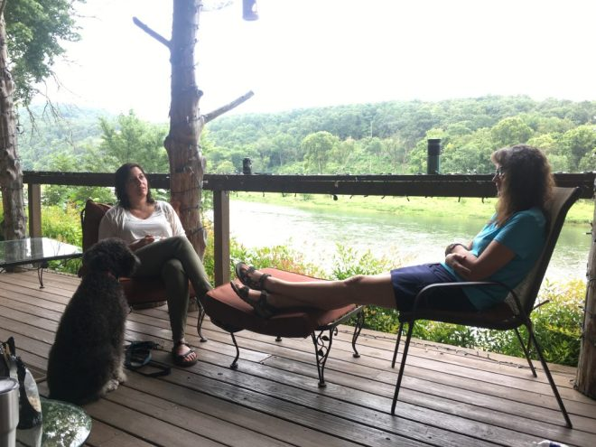 Relaxing on the Cedarwood Lodge deck overlooking the White River
