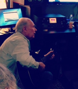 "Bob Brumley recording ""I'll Fly Away"" at Haxton Road Studios"