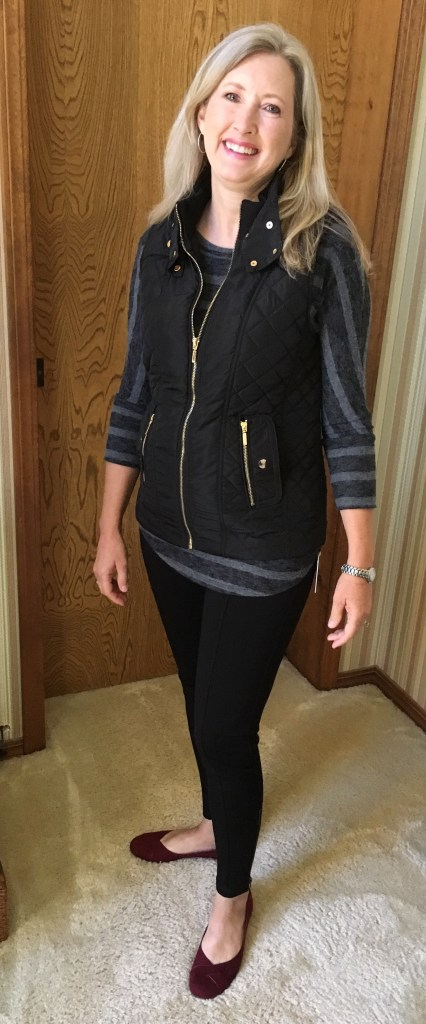 Lazarus Quilted Puffer Vest, Corinna Brushed Dolman nit Top, and Molly Ankle Zip Detail Legging