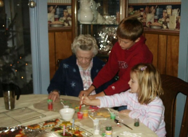 Decorating cookies with Great Grandma