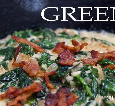 greens recipe, bechamel sauce, greens with bacon, holiday recipe, cooking, side dish recipe, featured