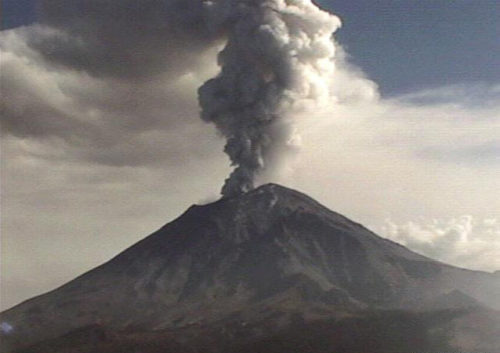 Photo of the Popocatepetl Volcano near Mexico City, potential for disasters during travel