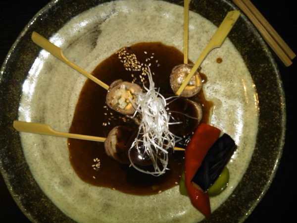 Food in Japan: Beef wrapped in Udon noodles