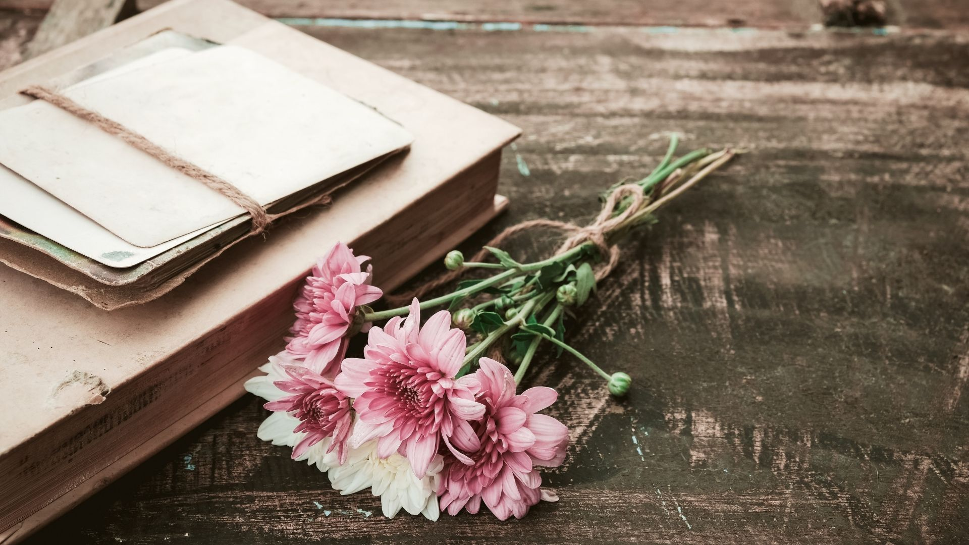flowers and book