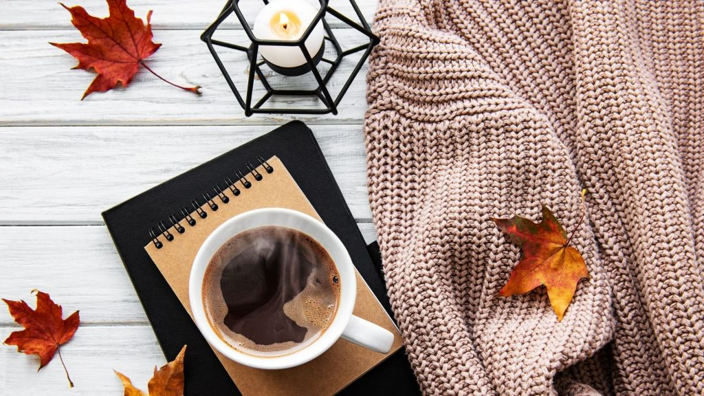cozy fall sweater with coffee cup