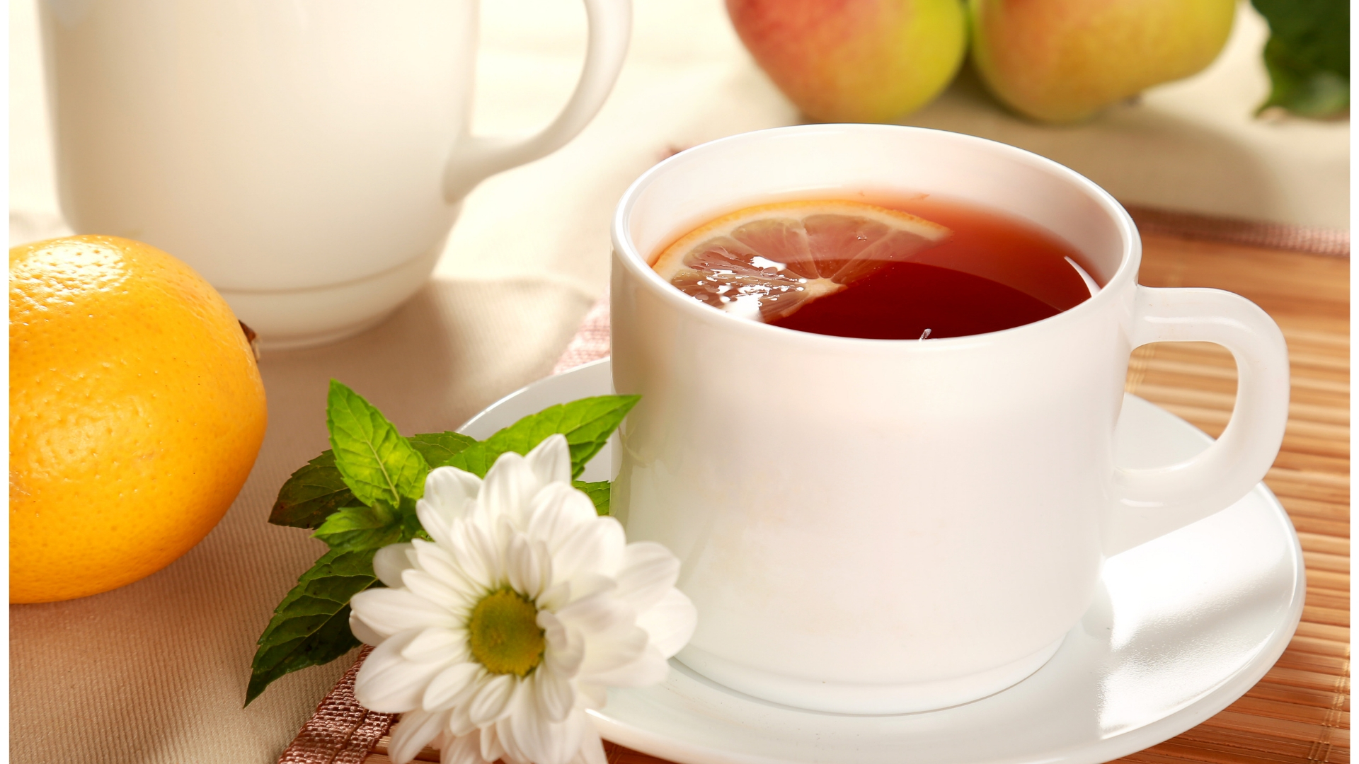 a cup of tea and flower