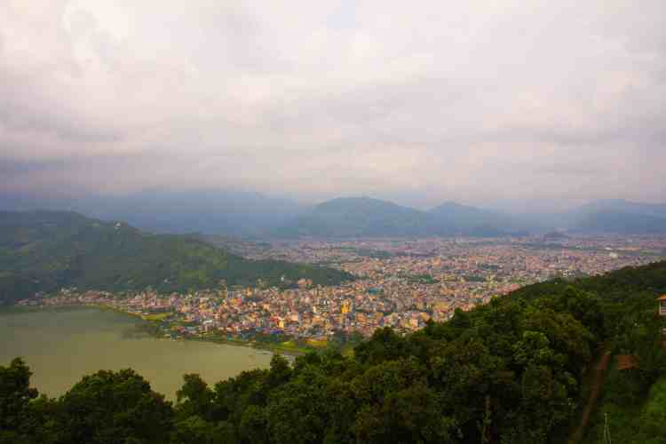 Pokhara lakeside city view