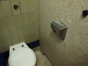 Handy for multi-tasking smokers! An ashtray built into the toilet roll holder - public toilet in York
