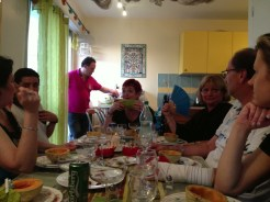 Josette at the head of the table, presiding over proceedings