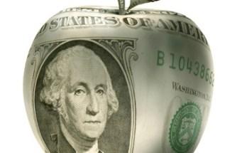 Dollar bill in shape of apple